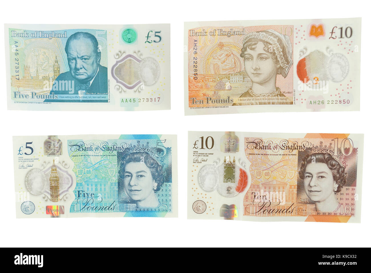 The newly introduced currency of the United Kingdom - The polymer ten pound (£10) note with features more measures - Stock Image