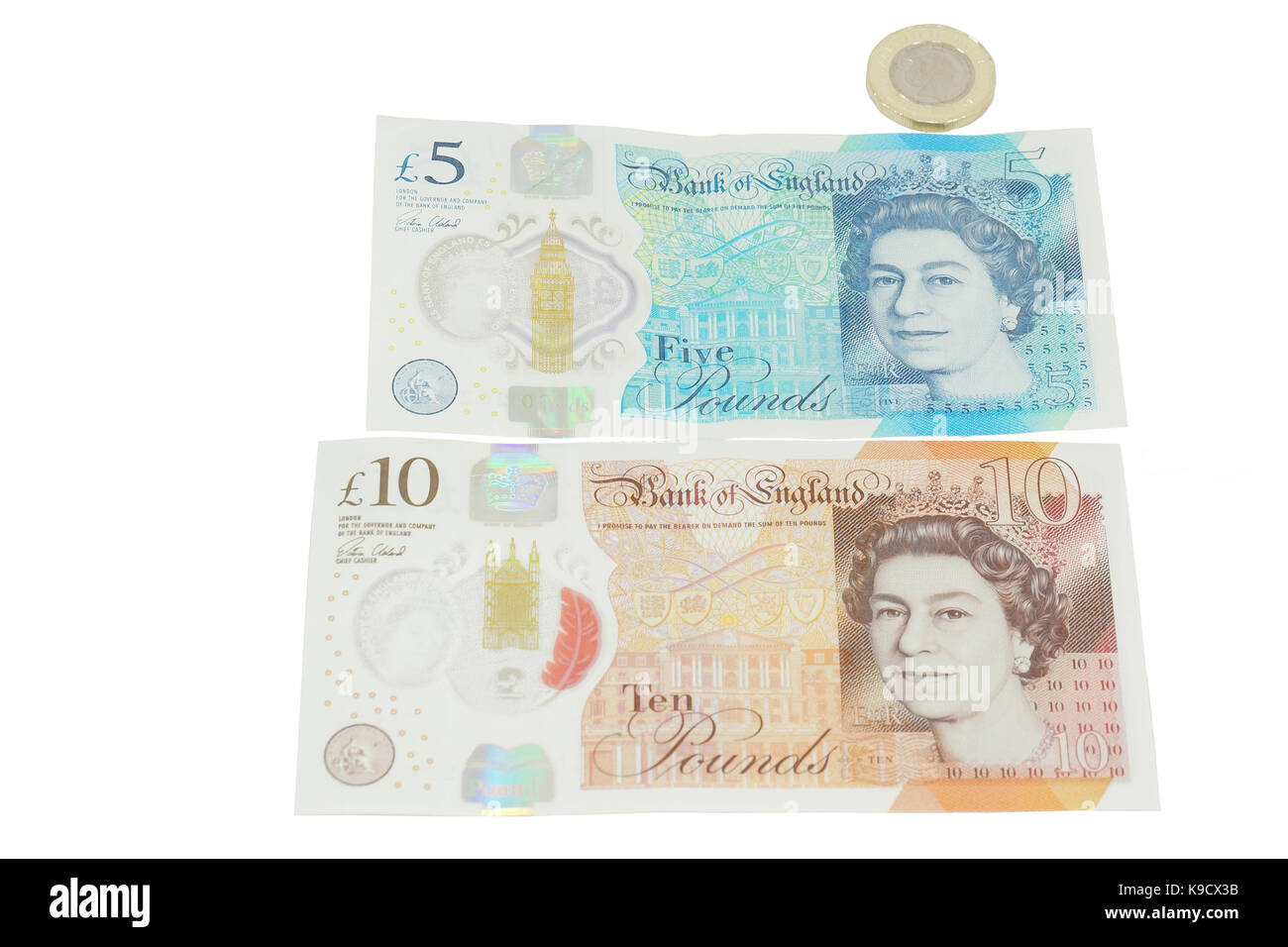 The newly introduced currency of the United Kingdom - The polymer ten pound (£10) note - Stock Image