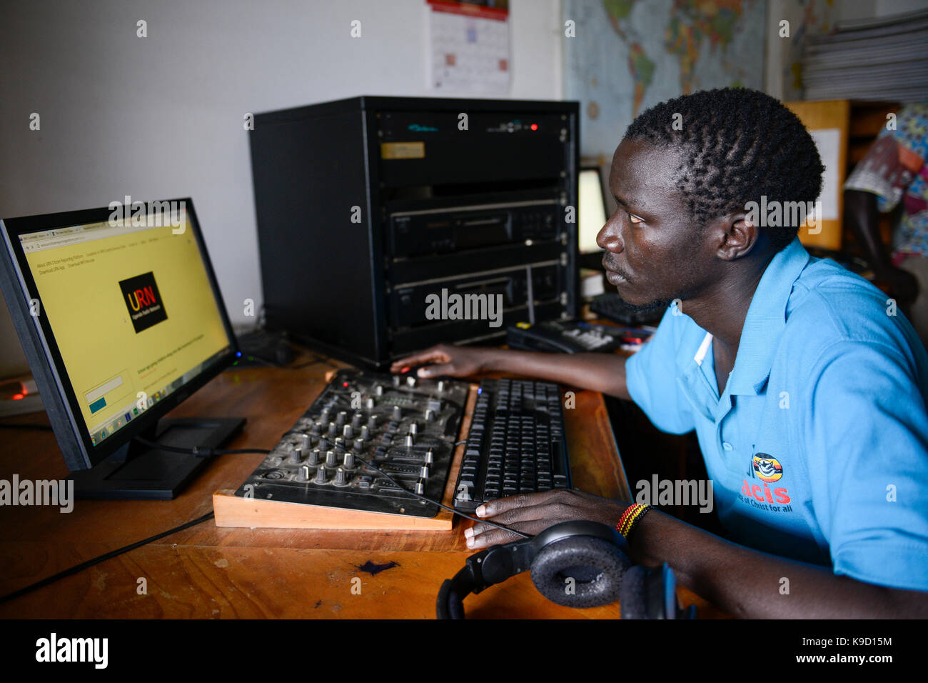 UGANDA, Arua, Radio Pacis, News Room - Stock Image
