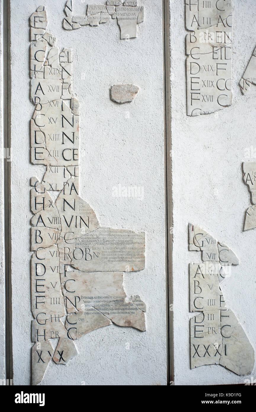 Roman Calendar.Fragments Of Roman Calendar Called Fasti Prenestini In Palazzo Stock