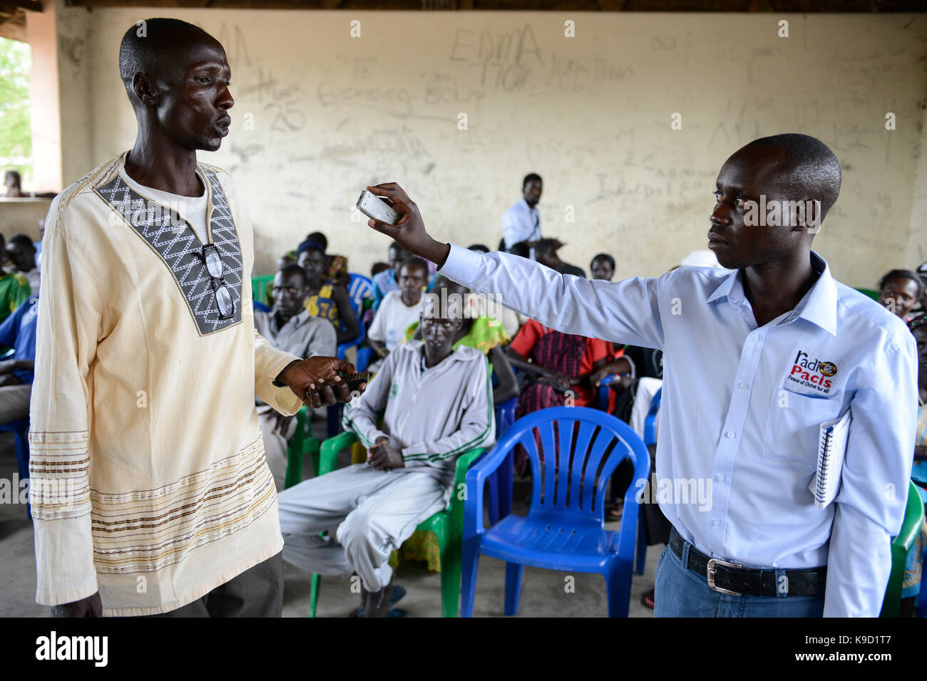 UGANDA, Arua, Radio Pacis reporter, Rhino Camp Refugee Settlement with Nuer and Dinka refugees from South Sudan - Stock Image