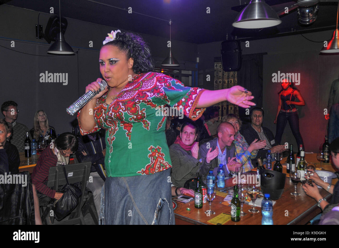 lead singer Ramaine of AmaZinc at Khayamandi Township, Stellenbosch, South Africa - Stock Image