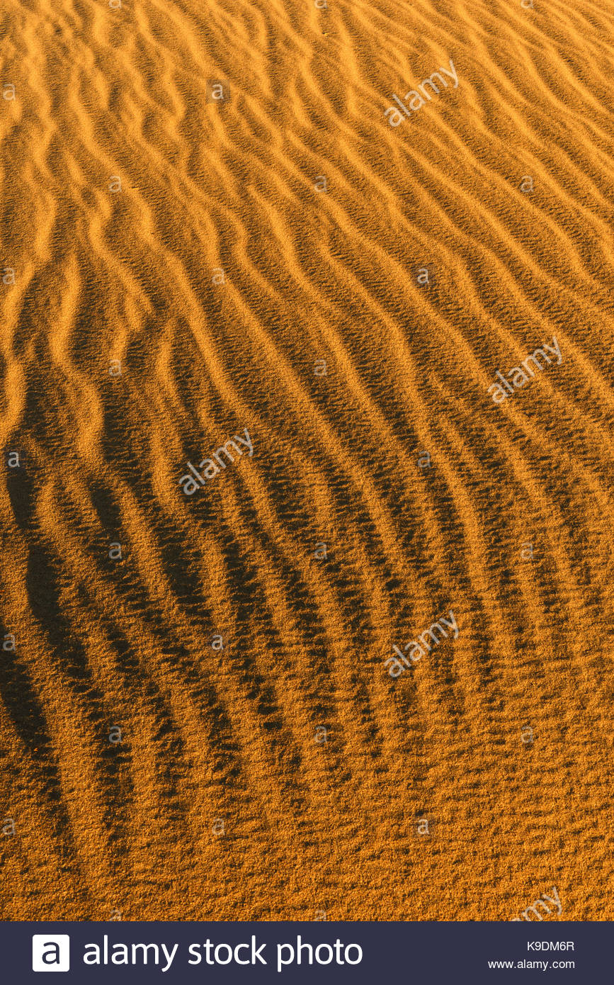 Sand Patterns on Sand Dune, Death Valley National Park, California - Stock Image
