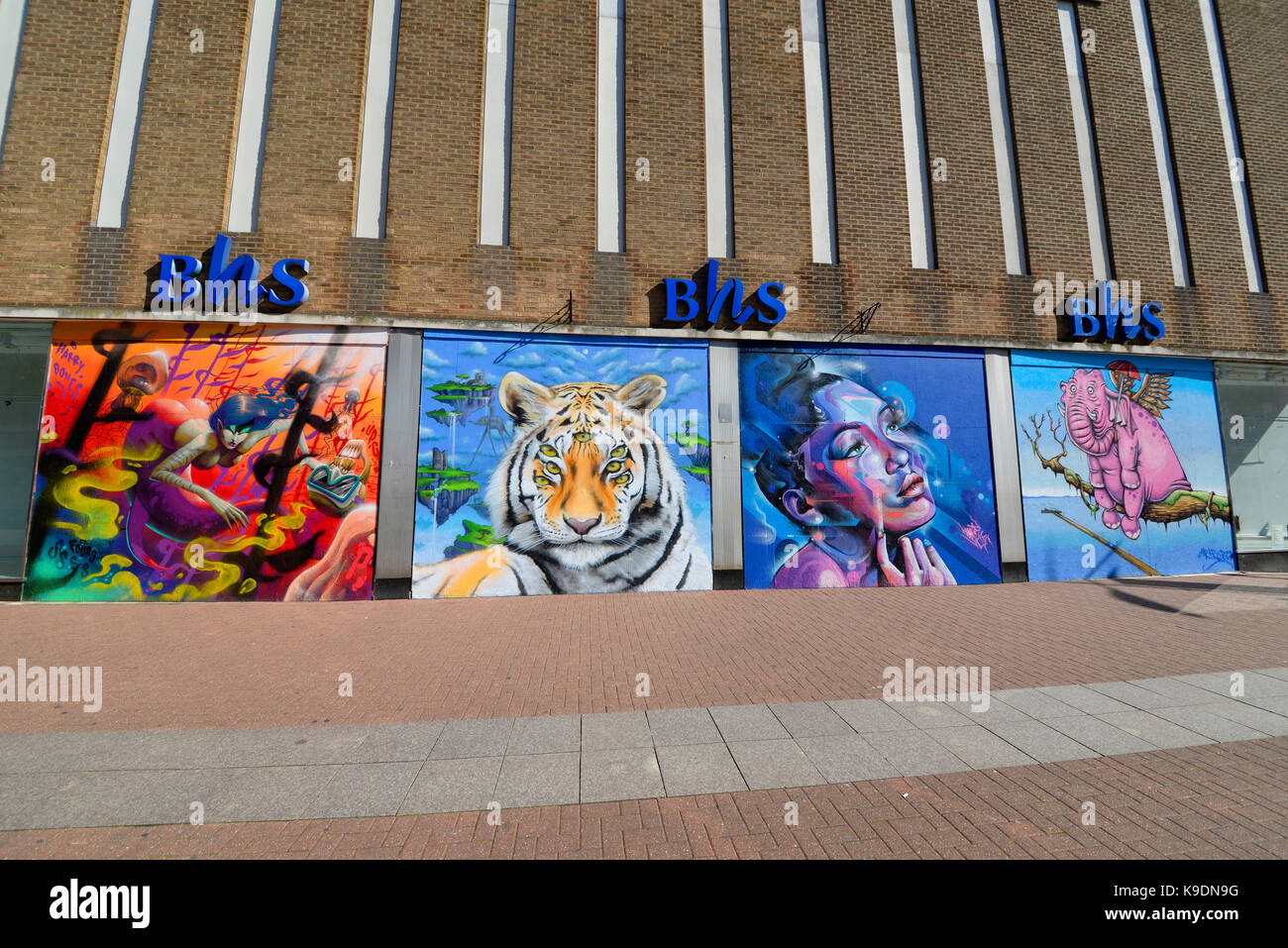 Estuary Fringe Festival Artworks on the closed BHS British Home Stores in High Street, Southend on Sea, Essex. Space - Stock Image