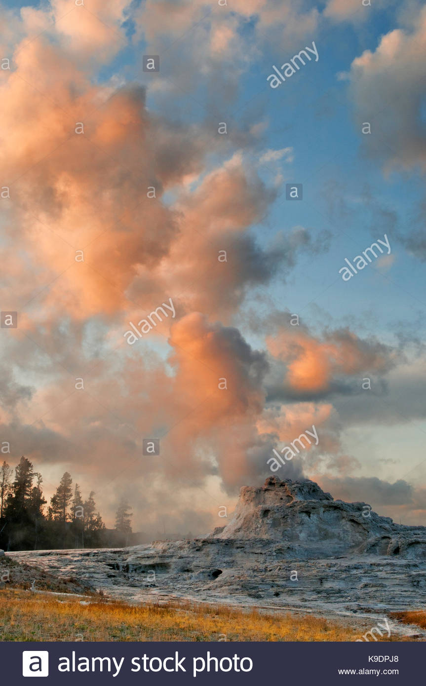Castle Geyser at Sunset, Yellowstone National Park, Wyoming - Stock Image