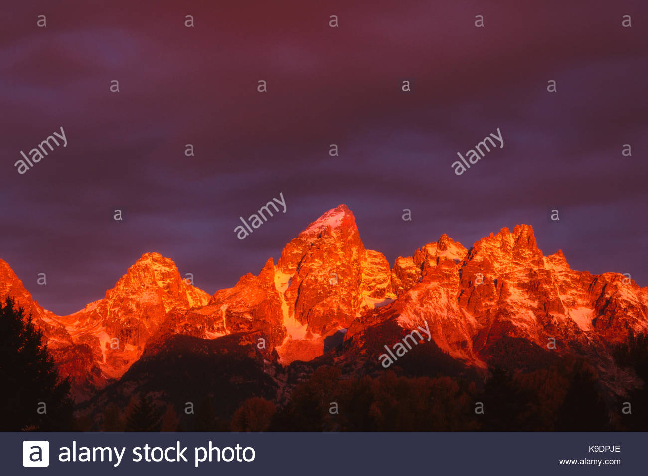 First Light on Teton Range, Grand Teton National Park, Wyoming - Stock Image