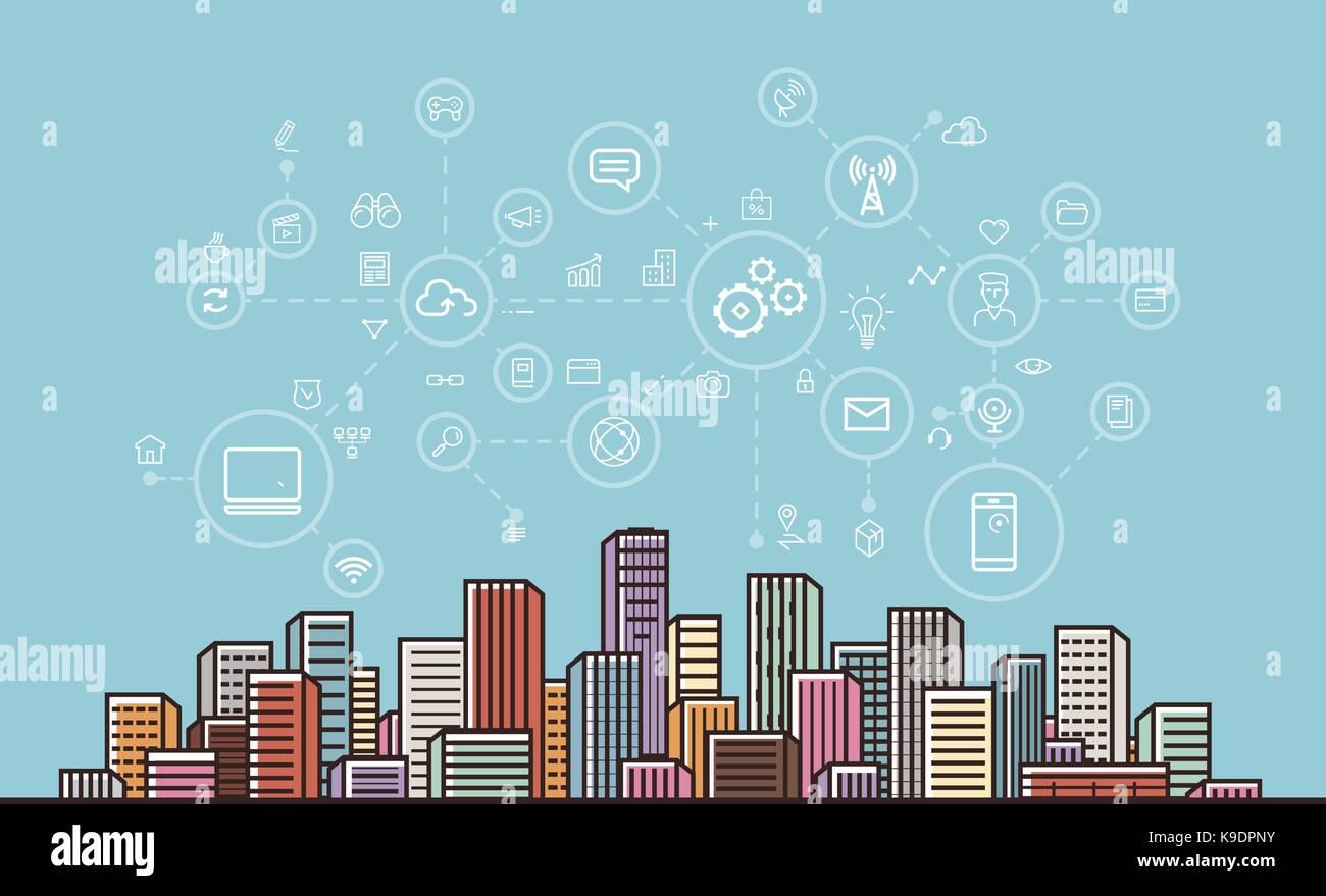 Internet communication, network, digital technology concept. Modern city background. Vector illustration - Stock Image