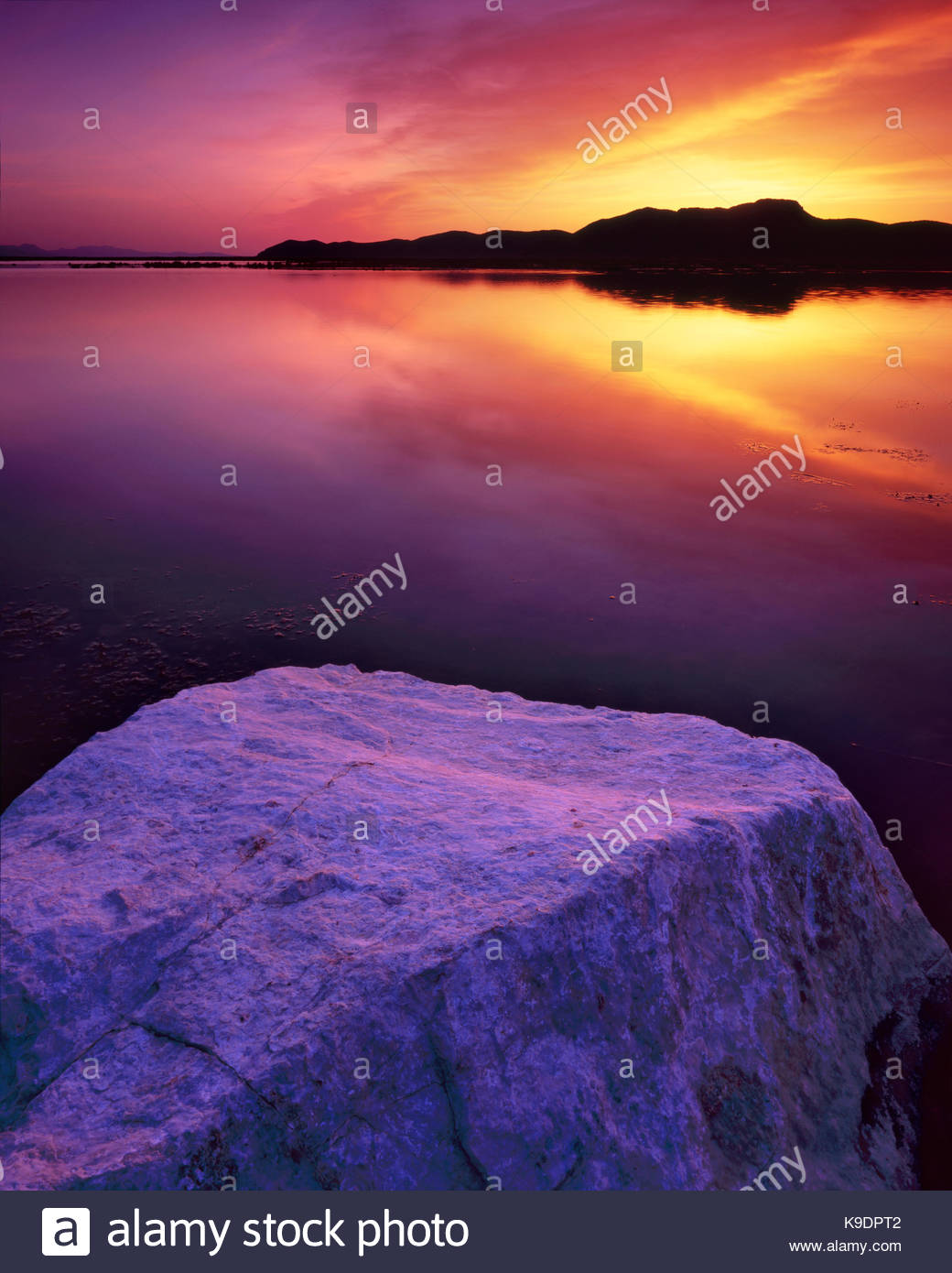 Rock and Lake at Dawn, Ruby Lake National Wildlife Refuge, Nevada - Stock Image