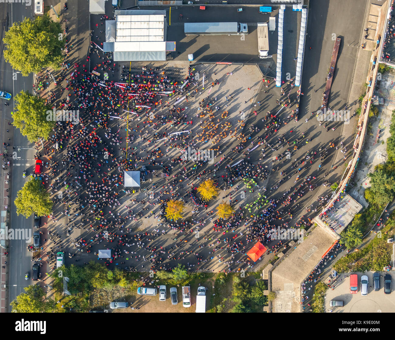 Steel workers demonstration in Bochum, against the merger of ThyssenKrupp Steel and TATA from India, large demonstration - Stock Image