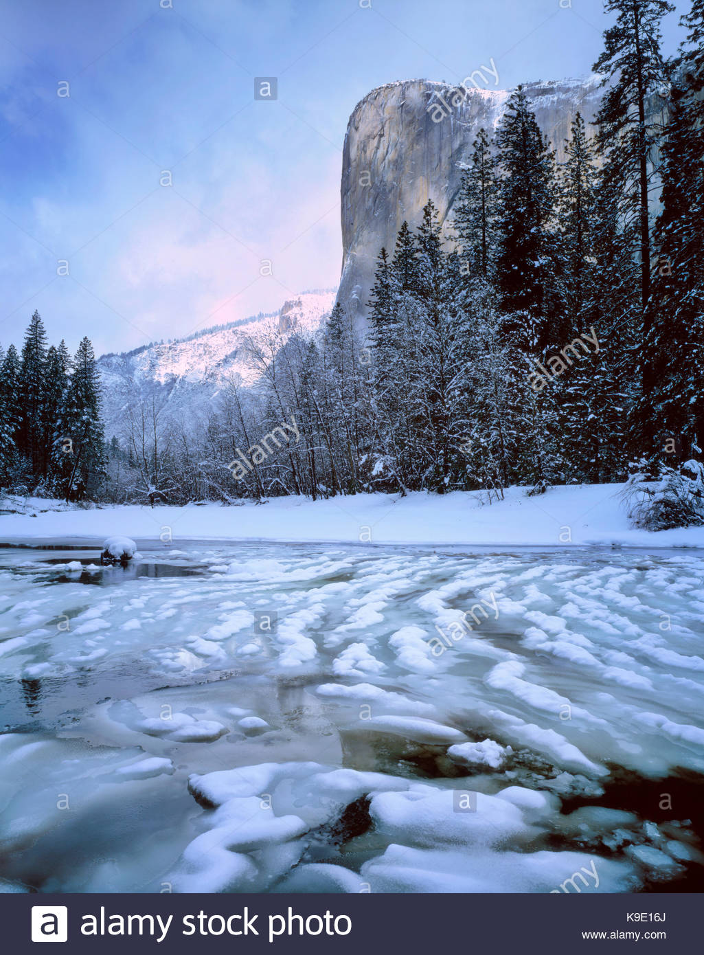 El Capitan and the Merced River in Winter, Yosemite National Park, California - Stock Image