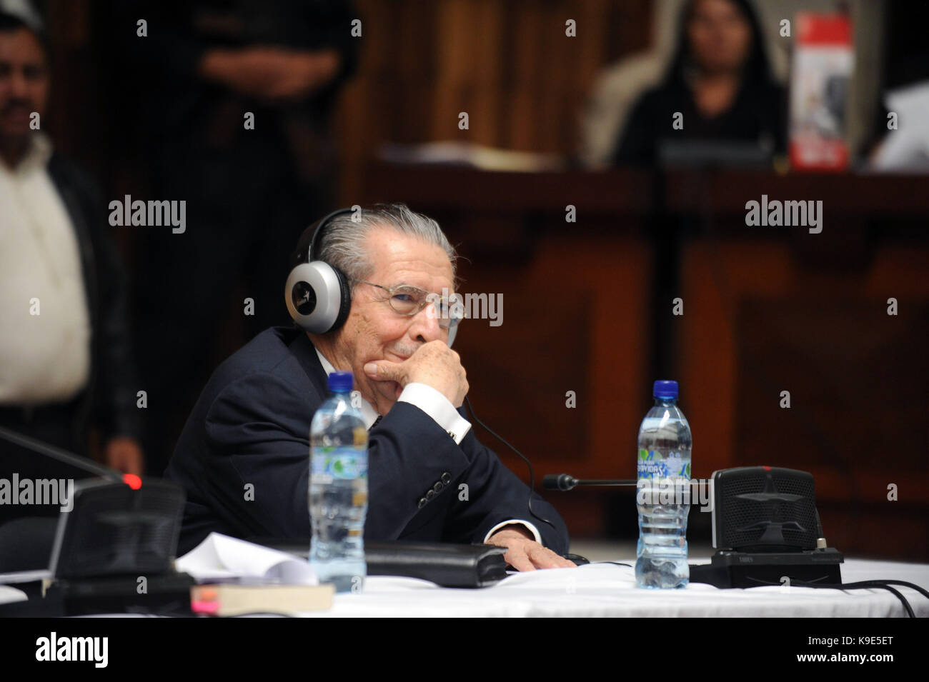 The trial for former Guatemalan dictator, Efrain Rios Montt starts in the Supreme Court of Justice in Guatemala - Stock Image