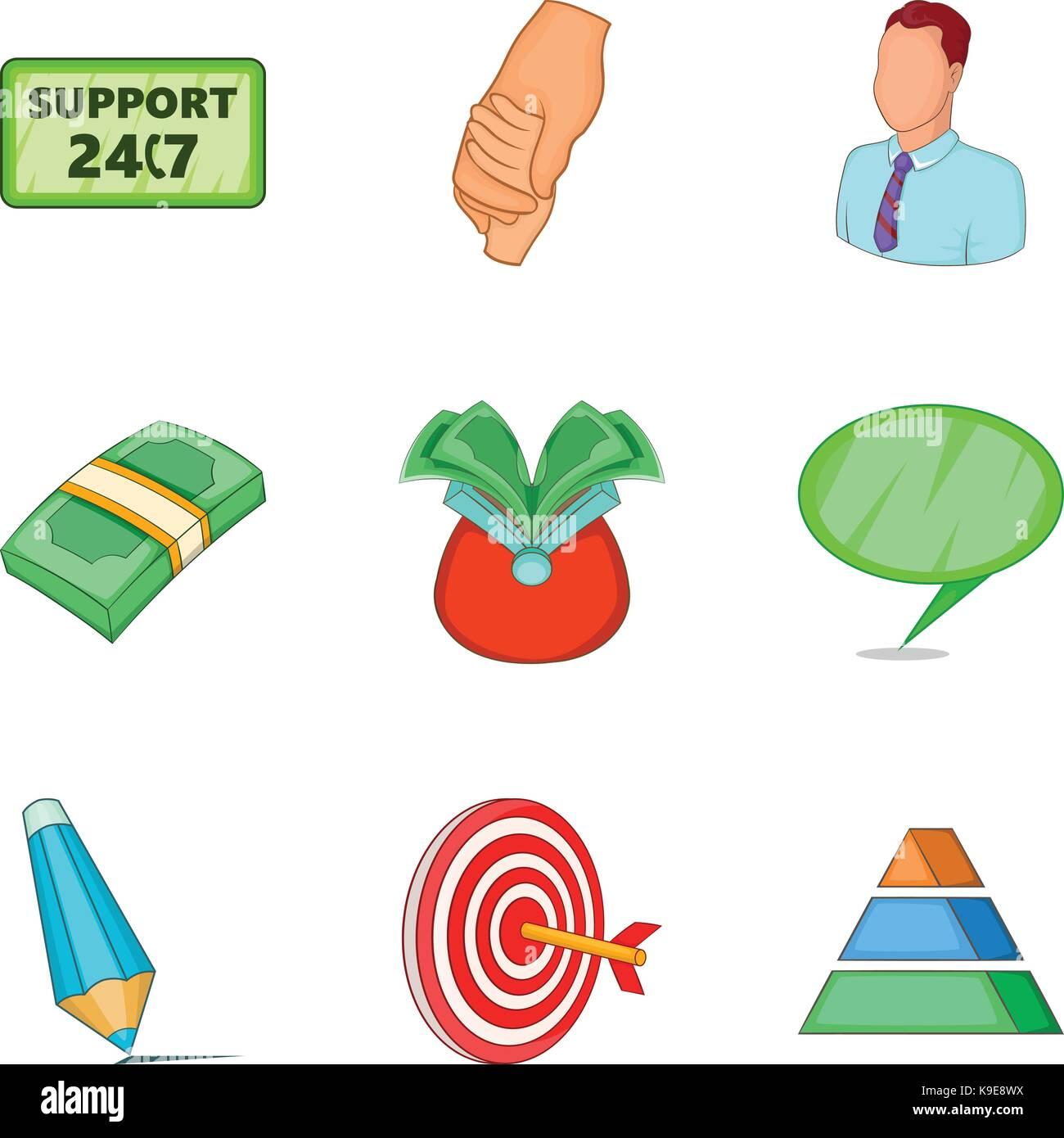 Loot icons set, cartoon style - Stock Image