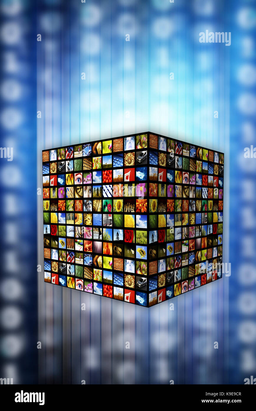 cube of images, digital television, new media, on demand and internet broadcasting - Stock Image