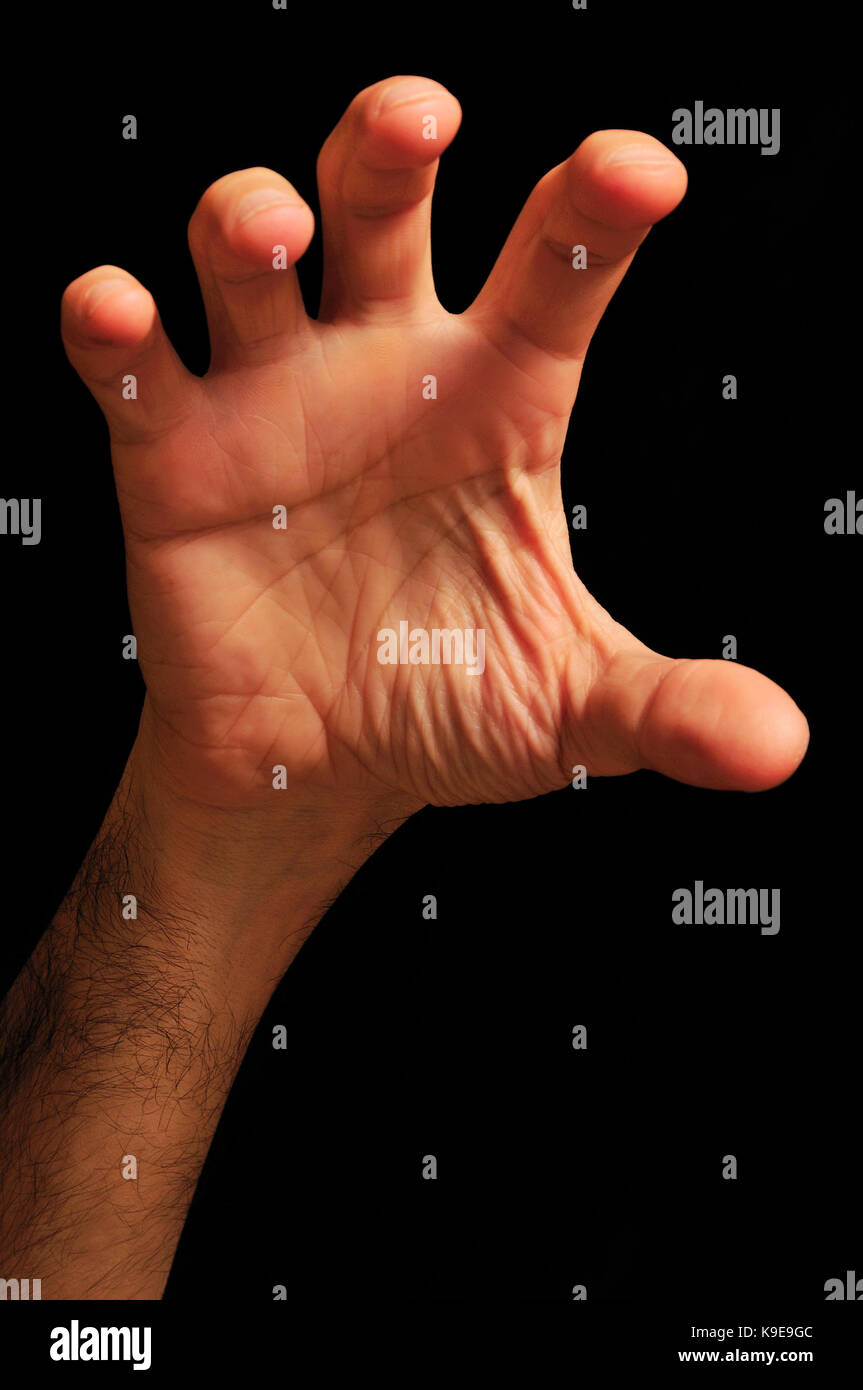 male hand in gesture of grab something, isolated - Stock Image