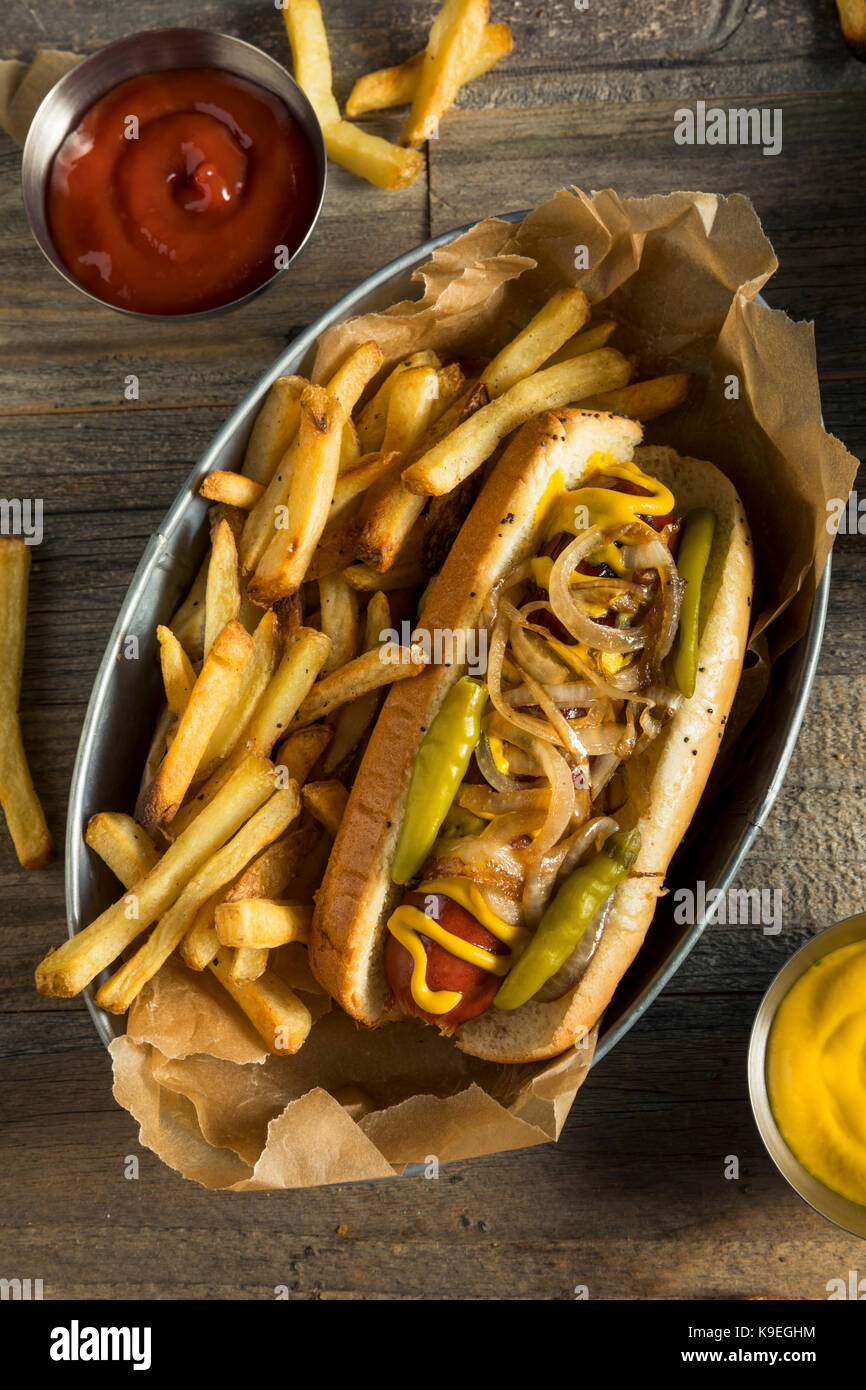 Homemade Chicago Style Polish Sausage with Onion Mustard and Peppers - Stock Image