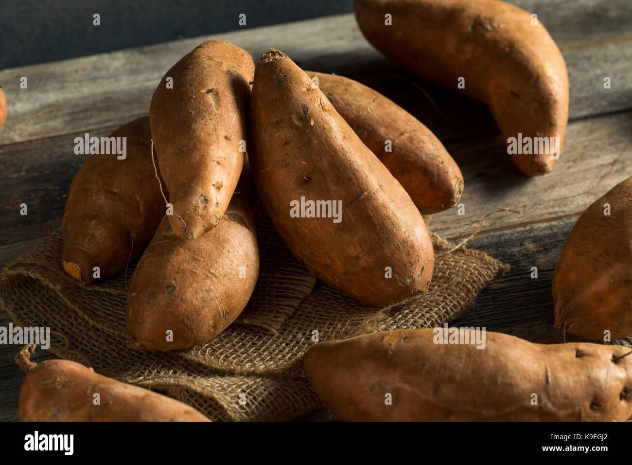 Raw Orange Organic Sweet Potato Yams Ready To Cook Stock Photo