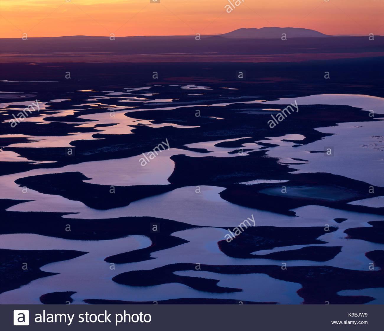Warner Wetlands Area of Critical Environmental Concern and Juniper Mountain, Lake County, Oregon - Stock Image