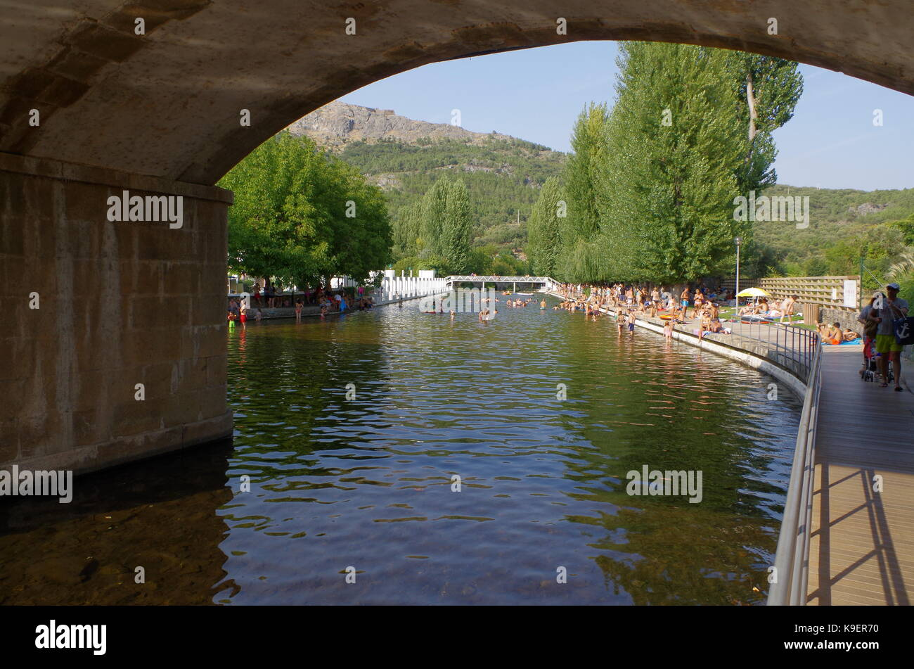 Sever river fluvial beach in Marvao. Portugal - Stock Image