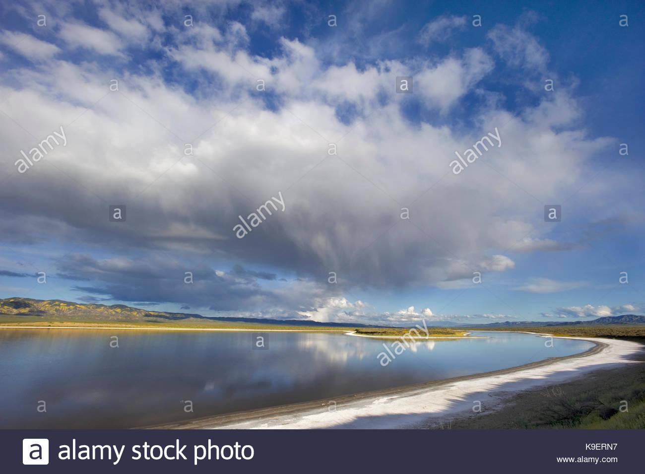 Rain Cloud over Soda Lake,Carrizo Plain National Monument, California - Stock Image