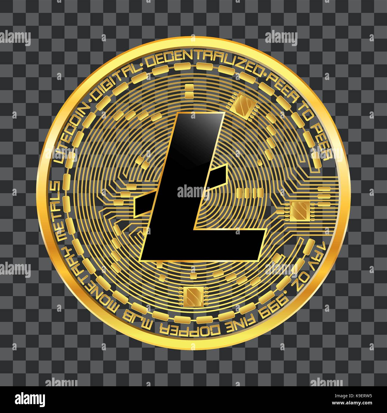 Crypto Currency Litecoin Golden Symbol Stock Vector Art