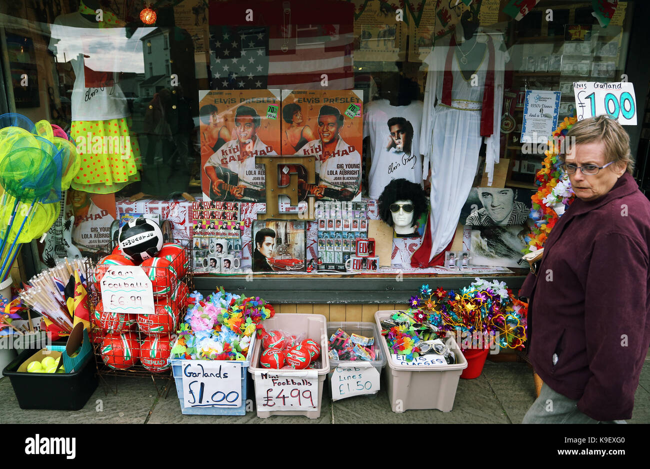Pictured  Elvis Presley memorabilia and accessories on sale at a local  shop. Friday 22 September 2017 Re  Porthcawl Elvis Festival 2017 8e8235b64c8f