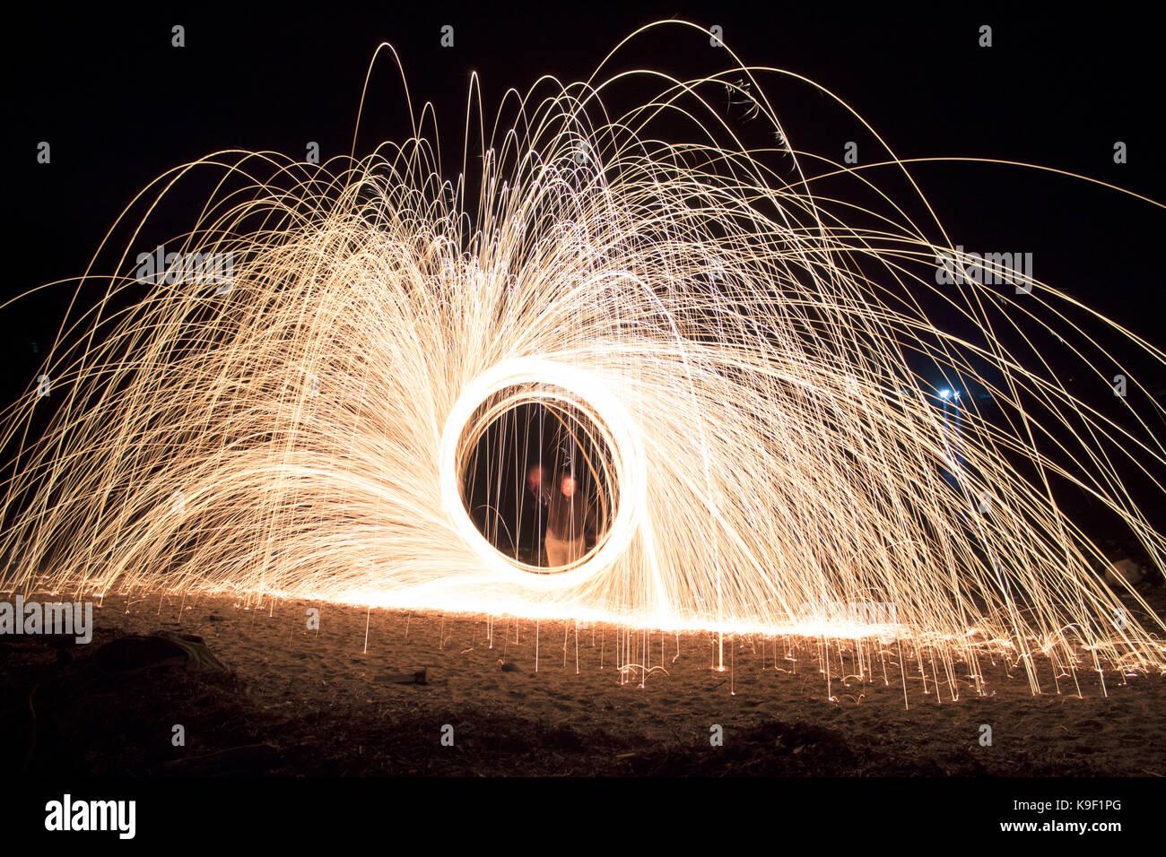 Steel wool spinning Stock Photo