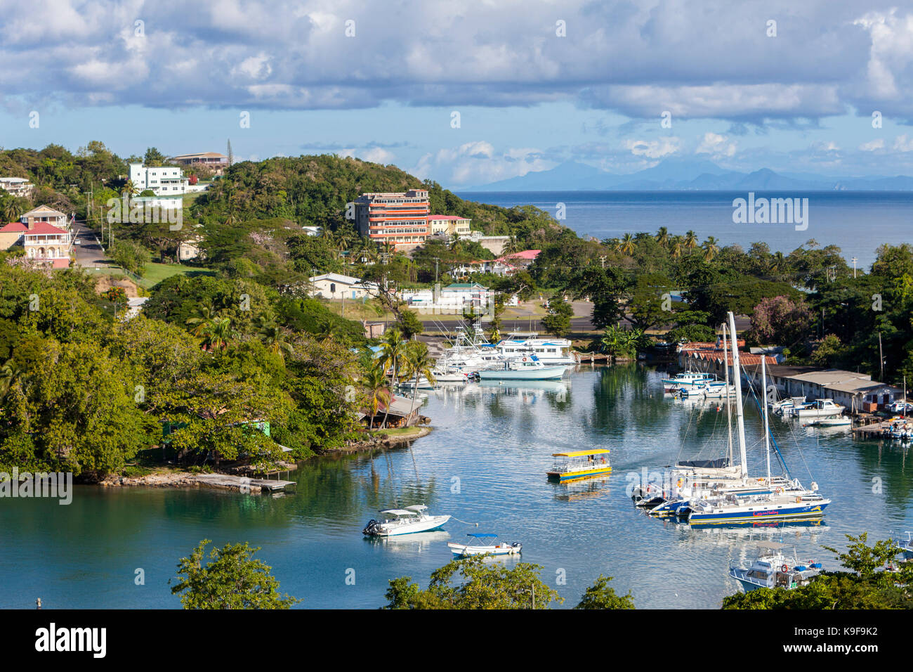 Castries, St. Lucia.  Small Boat Harbor.  Martinique in the Distance. - Stock Image