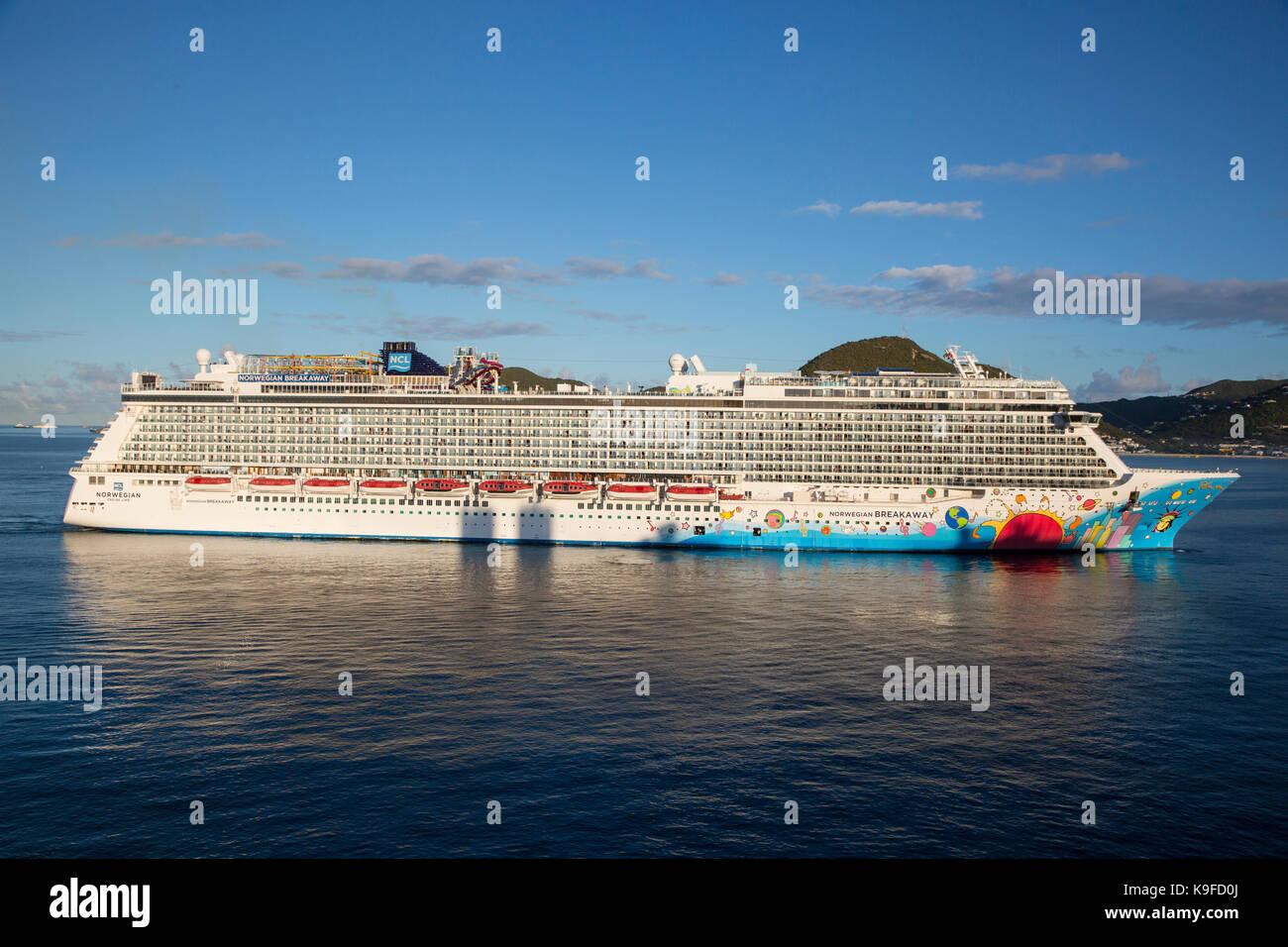 Philipsburg, Sint Maarten.  Norwegian Breakaway Cruise Liner.  FOR EDITORIAL USE ONLY. - Stock Image