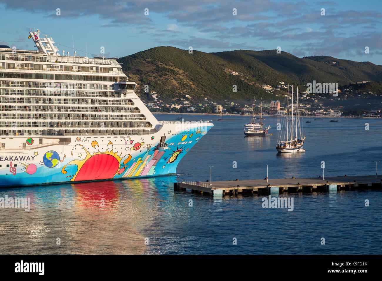 Philipsburg, Sint Maarten.  Norwegian Breakaway Cruise Liner Approaching Philipsburg Harbor.   FOR EDITORIAL USE - Stock Image