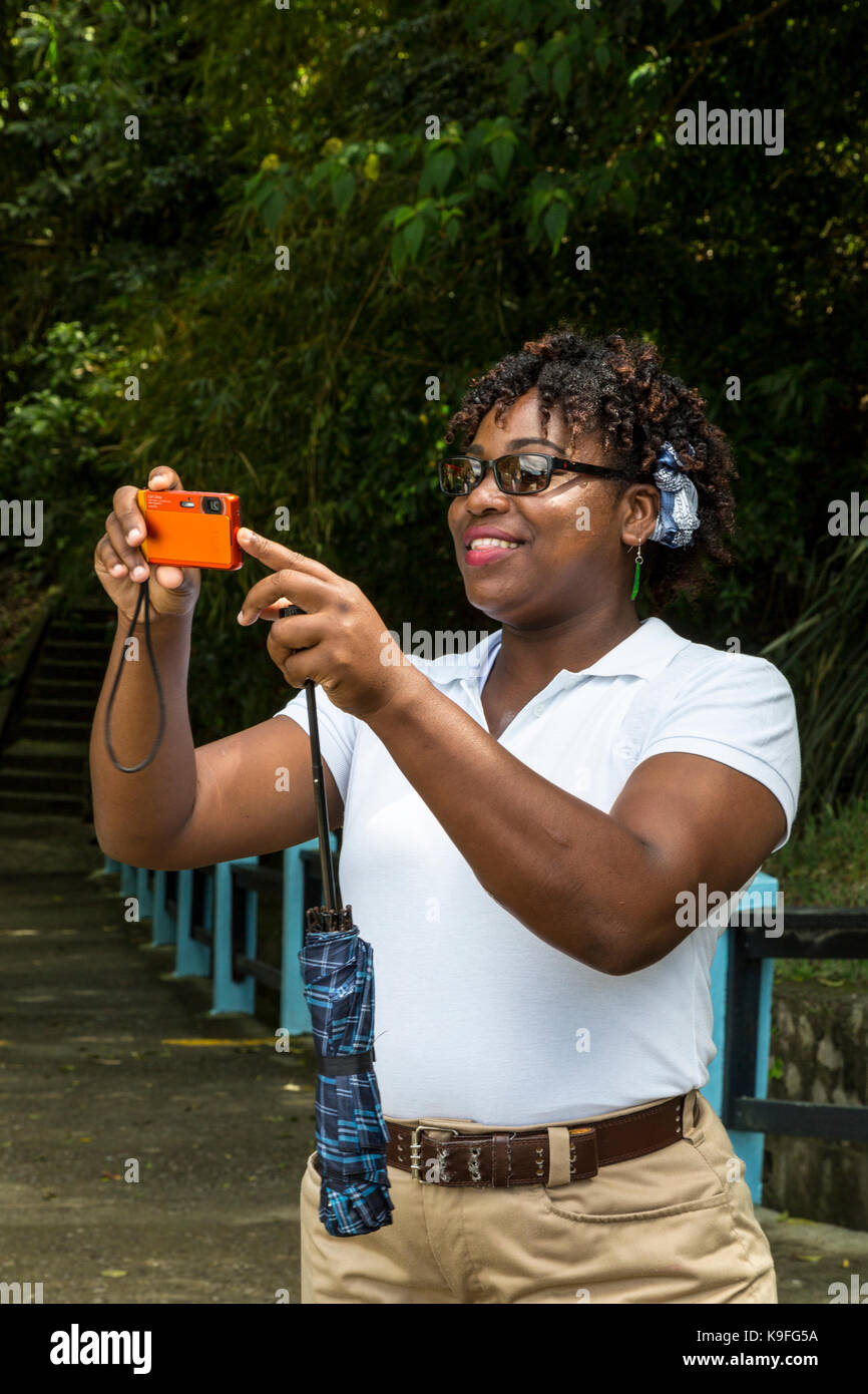 St. Lucia.  Local Guide at Soufriere Volcanic Centre. - Stock Image
