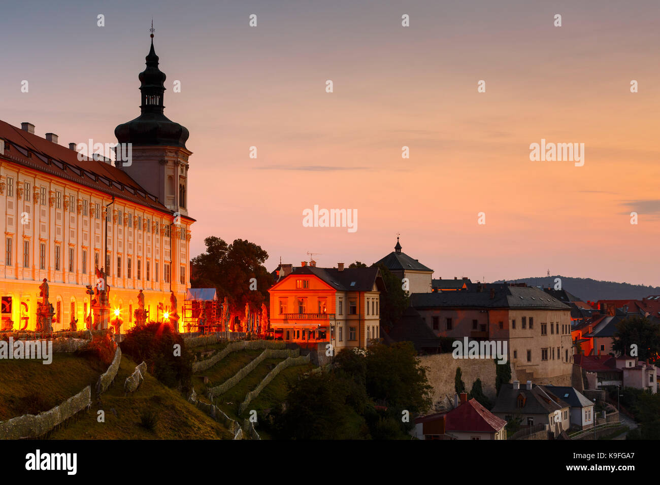 Jesuit collage and the old town of Kutna Hora. - Stock Image