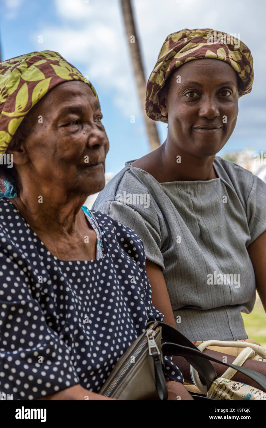 Fort-de-France, Martinique.  Mother and Daughter, African Ethnicity. - Stock Image