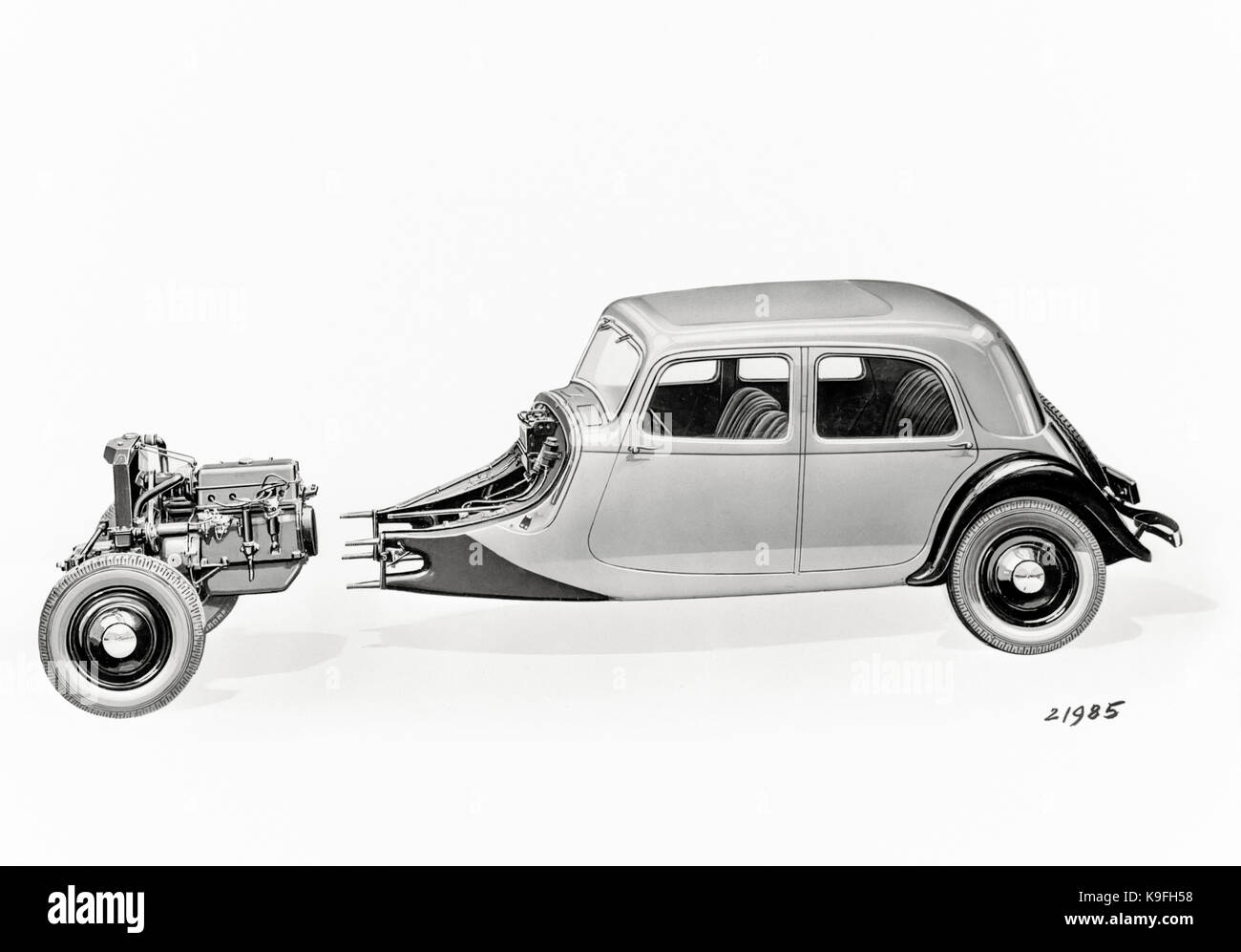 Citroën Traction Avant manufactured between 1934 and 1957. Illustration showing its main innovative features, - Stock Image