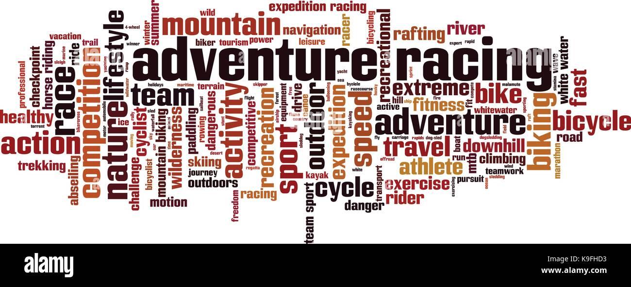 Adventure racing word cloud concept. Vector illustration - Stock Vector