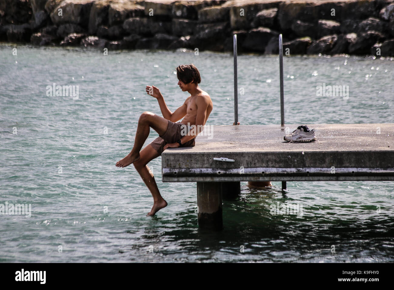 Testing the waters - Stock Image