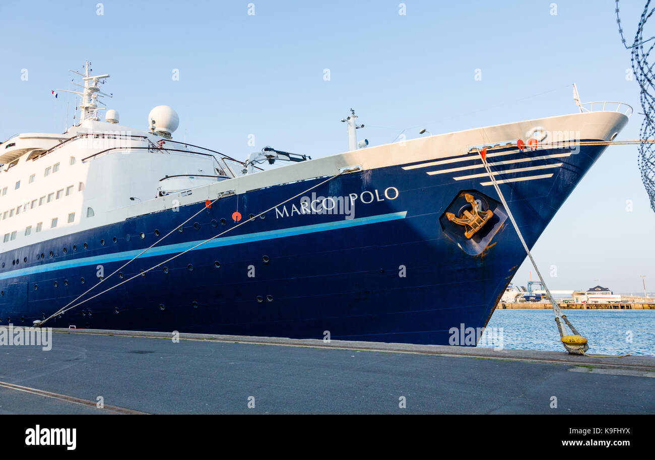 Panrama of the MV Marco Polo in the port of Cherbourg - Stock Image