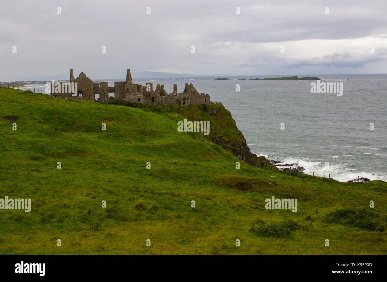 The historic Dunluce Castle ruins near Bushmills on the North Antrim coast in Northern Ireland often used as a film Stock Photo