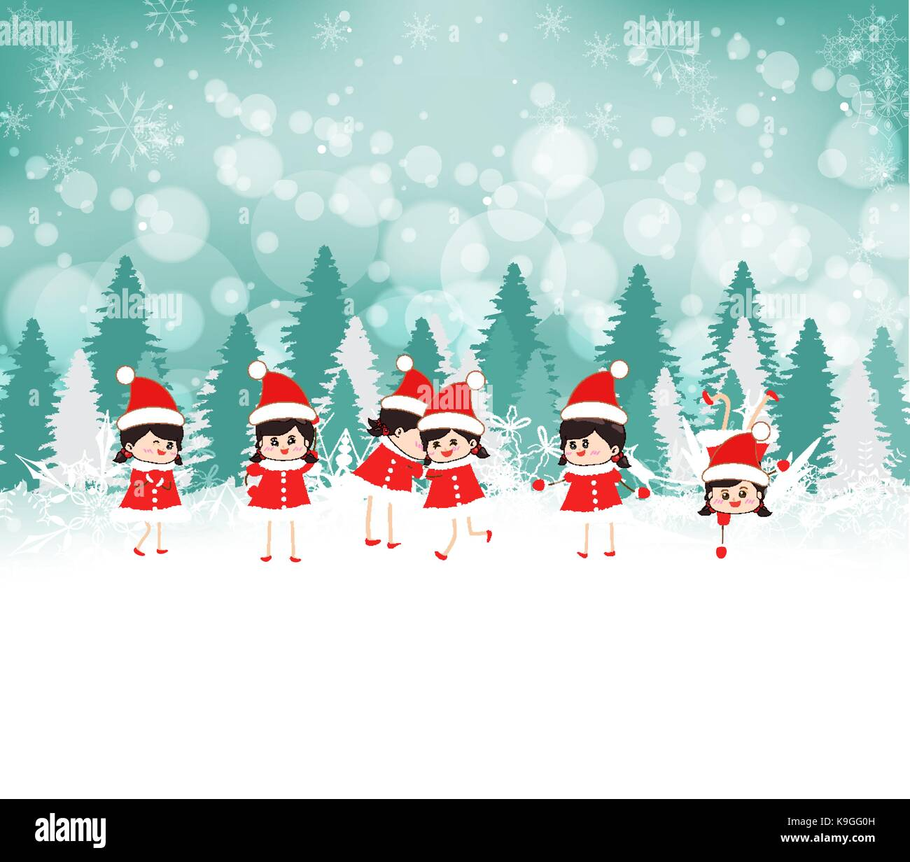 baby girls on Winter forest background - Stock Vector