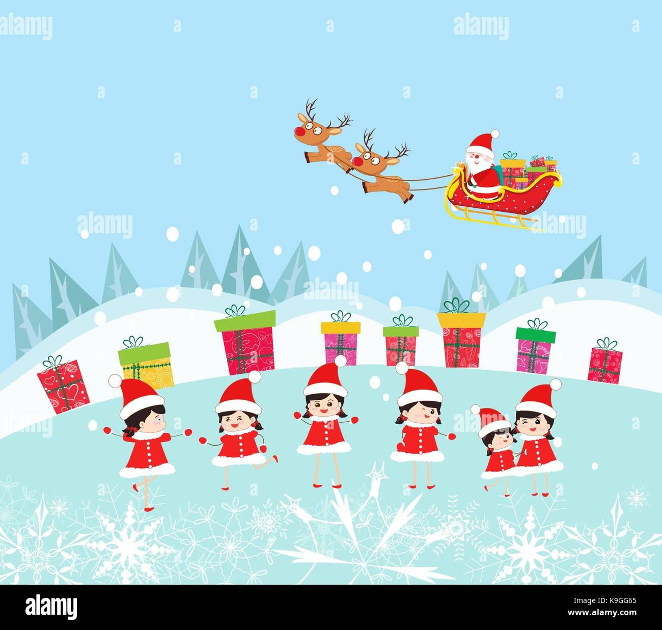 Happy Kids Decorating santa claus With gifts - Stock Vector
