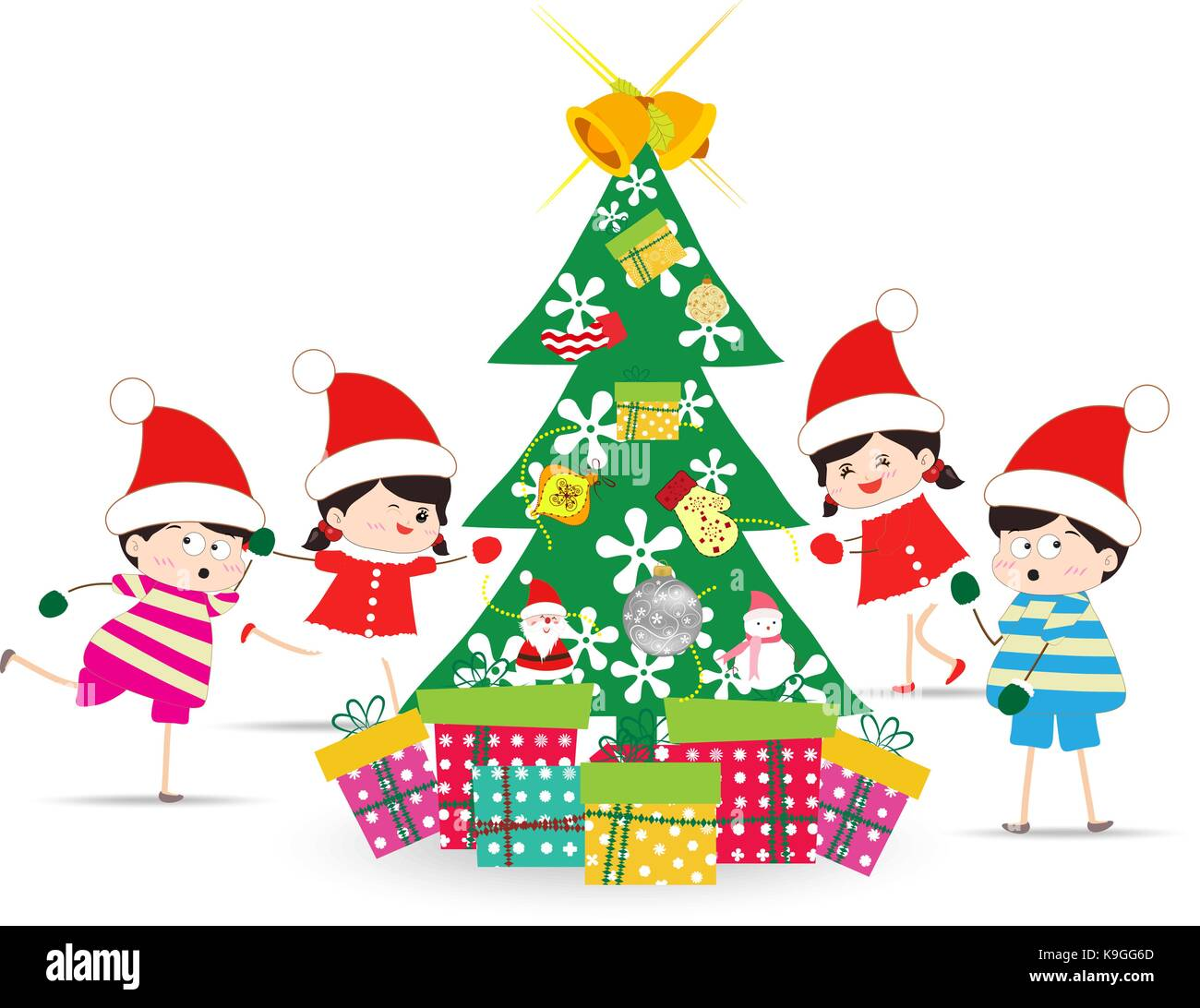 Happy Kids Decorating A Christmas Tree With element - Stock Vector