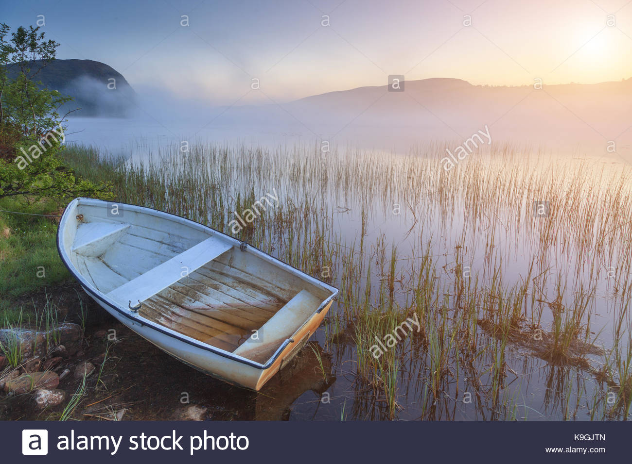 Boat on the shore of a misty lake on a summer morning - Stock Image