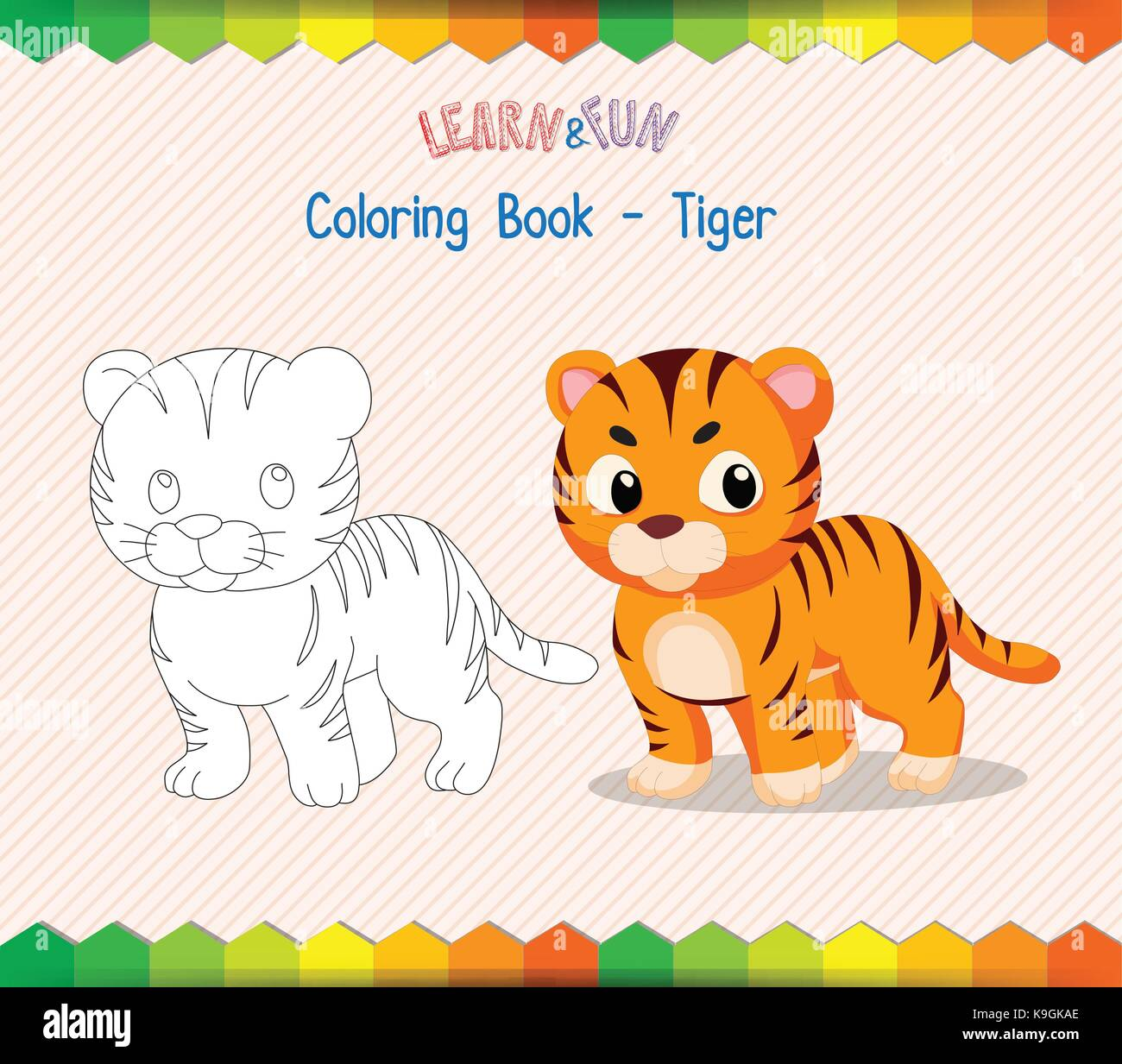 tiger coloring book educational game stock vector art illustration