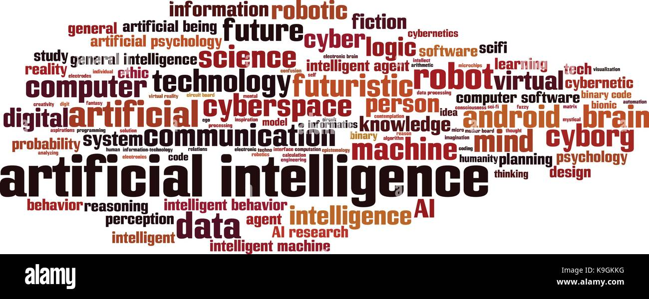 Artificial inteligence word cloud concept. Vector illustration - Stock Image