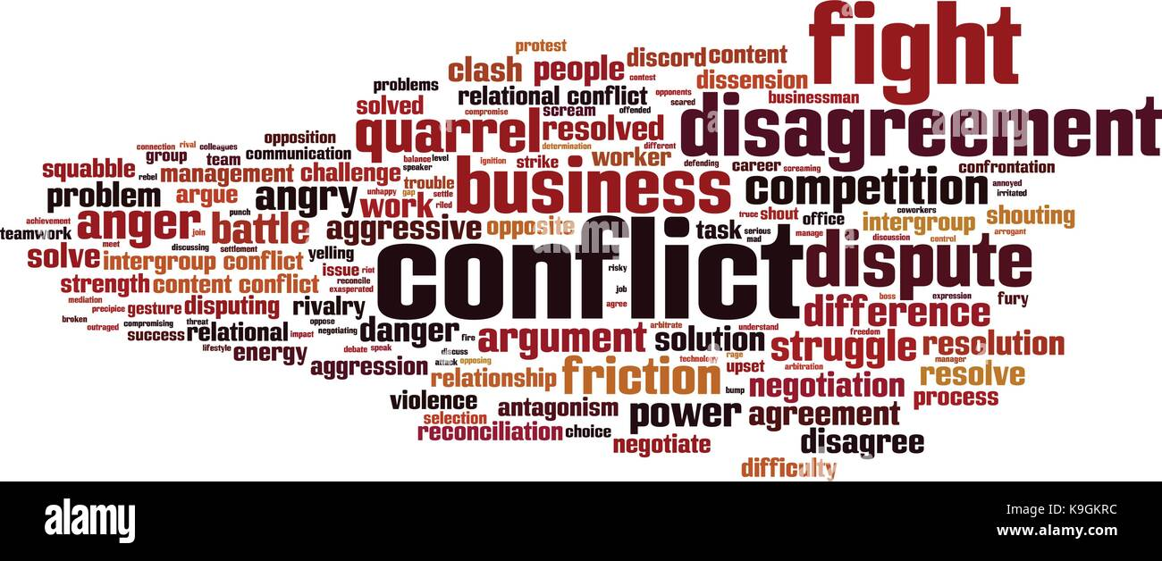 Conflict word cloud concept. Vector illustration - Stock Vector