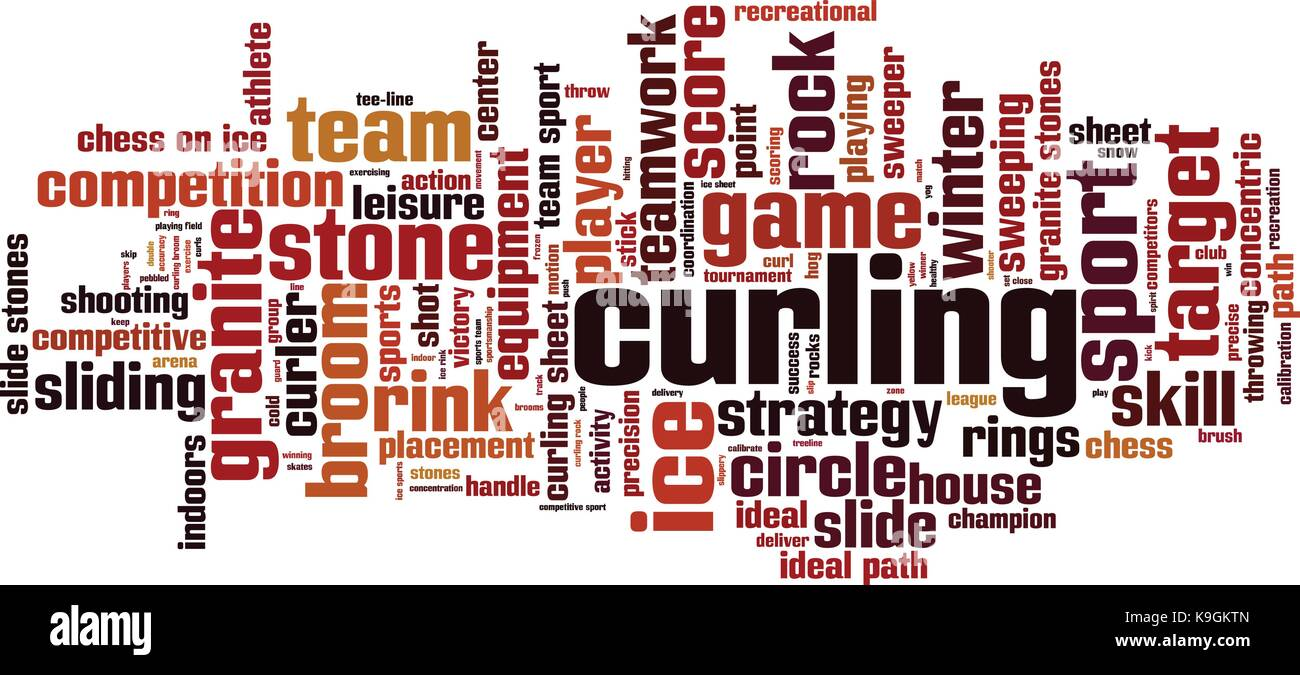 Curling word cloud concept. Vector illustration - Stock Image