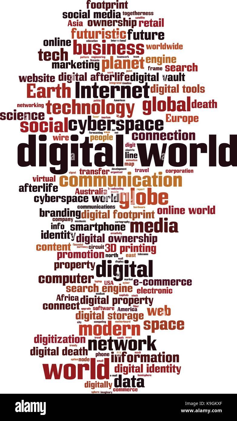 Digital world word cloud concept vector illustration stock vector digital world word cloud concept vector illustration gumiabroncs Gallery