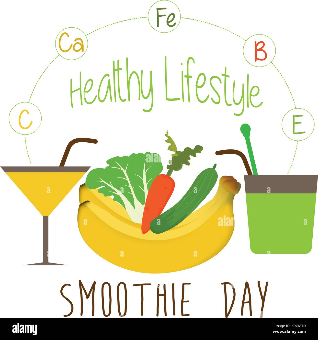 Bright smoothie with fruits and vegetables Stock Vector
