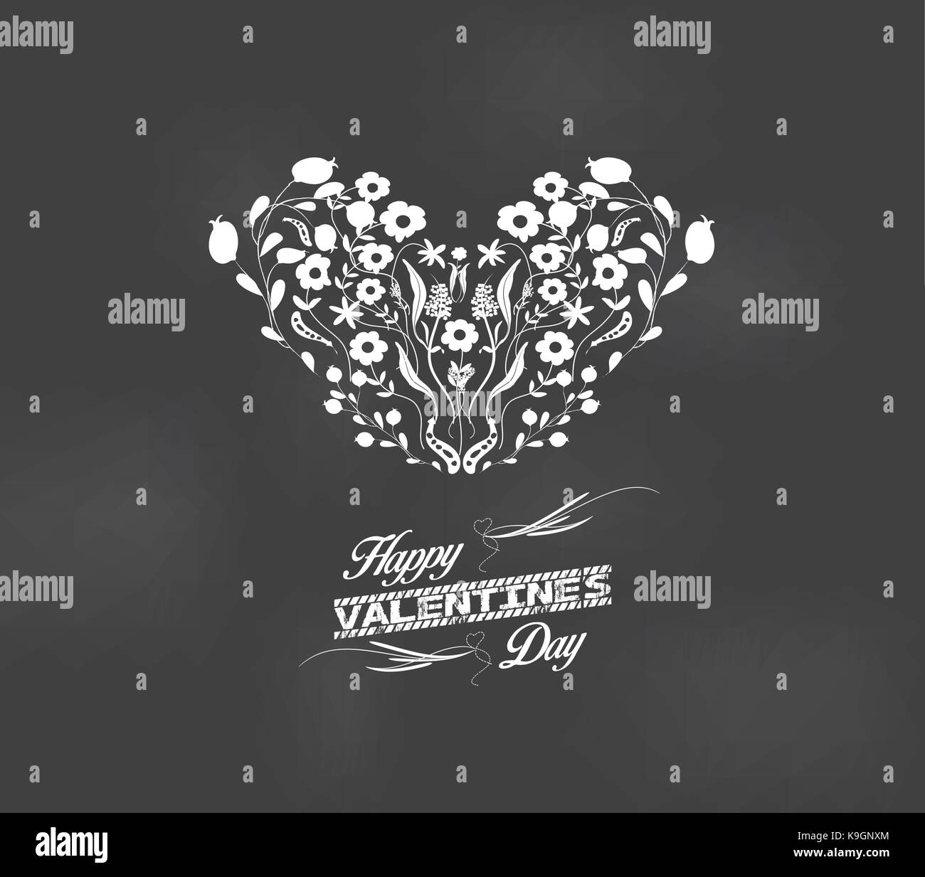 valentine Romantic floral card heart made of flowers - Stock Image
