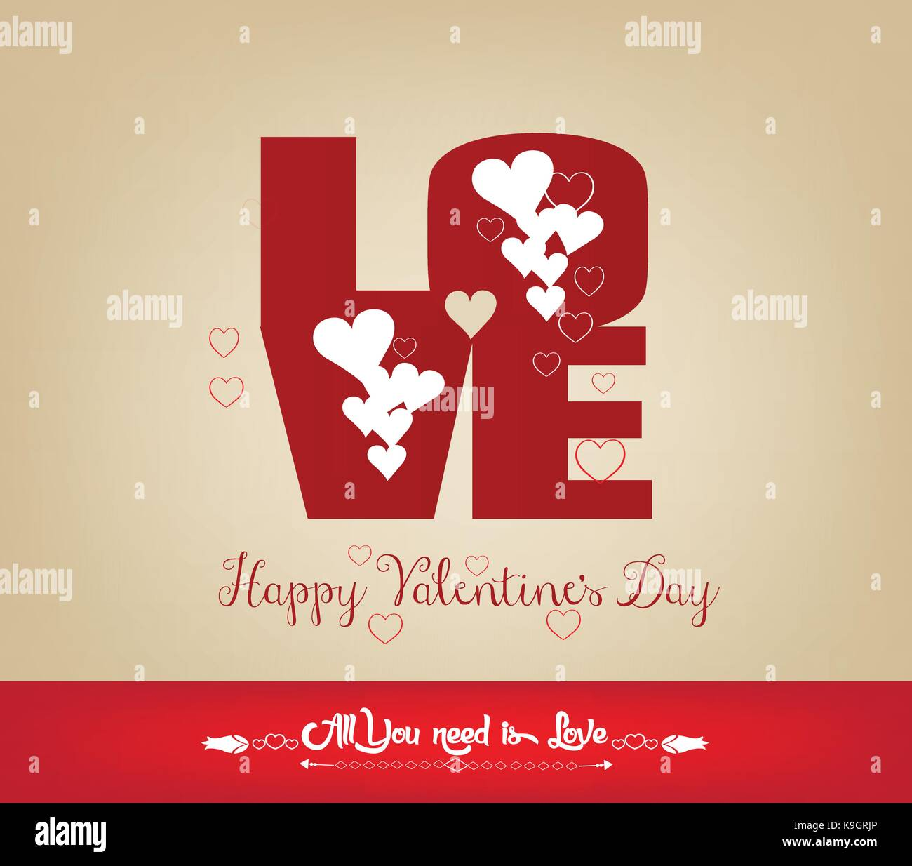 LOVE Happy Valentines day card, Font Type - Stock Image