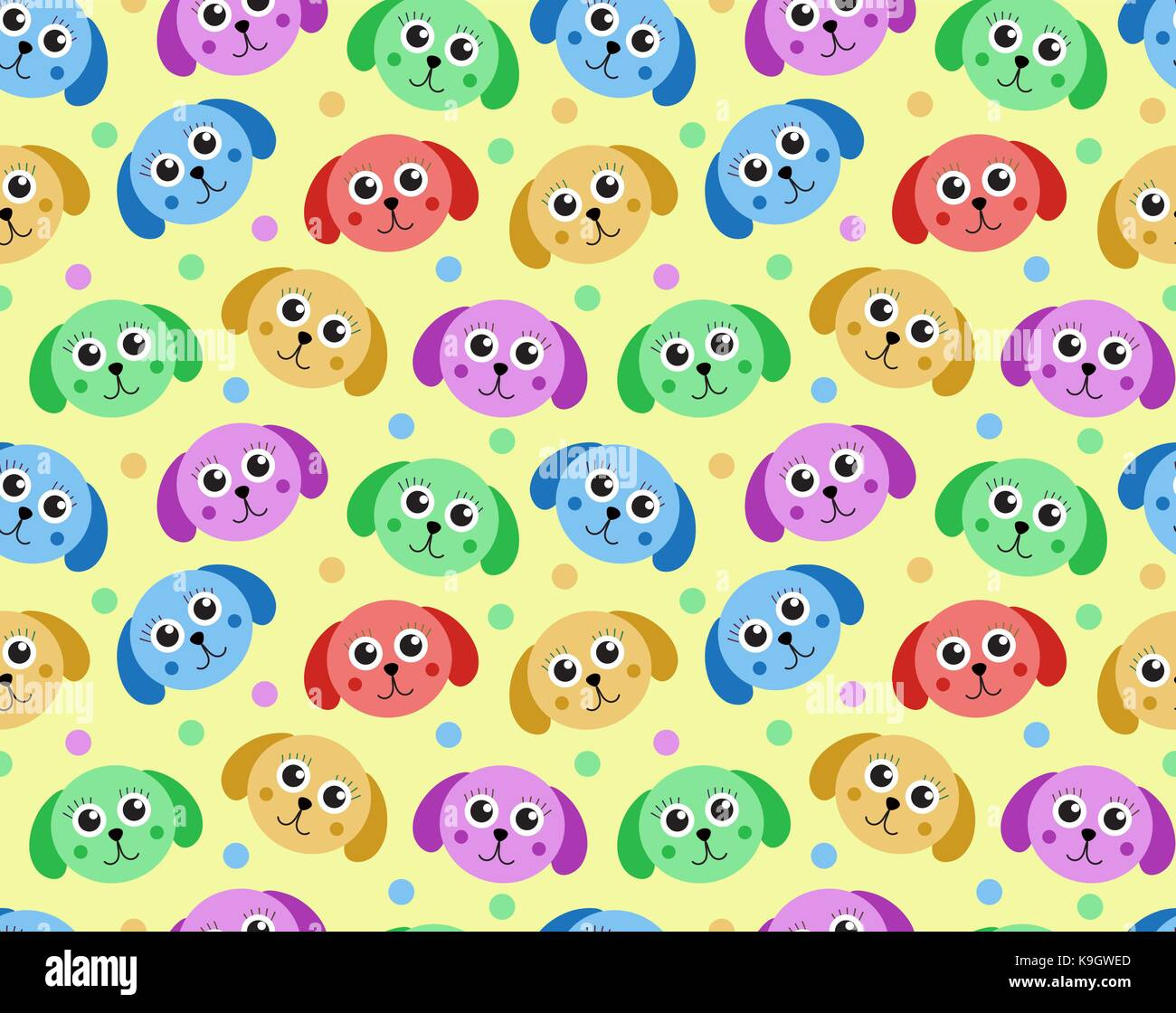 Cute puppy seamless pattern. Dog repetitive texture. Children endless background. Vector illustration. Stock Vector